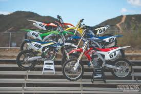 motocross bike brands motocross action magazine 2016 mxa 450 shootout crf vs fc vs kx