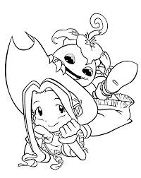 mimi and palmon digimon anime coloring pages for kids printable