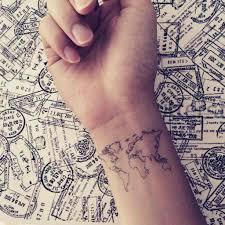 Map Tattoo World Map Outline U2013 Inknartshop Designer Temporary Tattoo