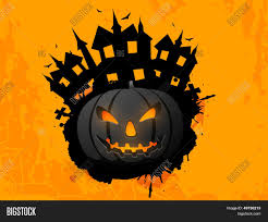 happy halloween poster banner or flyer with scary pumpkin and