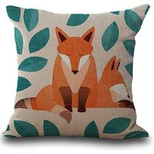lovely cute animals fox pattern cushion cover for sofa bed home