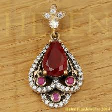 Ottoman Empire Jewelry Hurrem Sultan Pendant Tear Drop Shape Ruby Color Look Ottoman