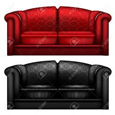 Red Leather Chair Black And Red Leather Sofa Isolated Stock Photo Picture And