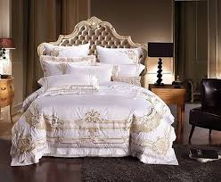 White Queen Size Duvet Cover White And Gold Royal Luxury 7pcs Duvet Cover Bedding Set Queen
