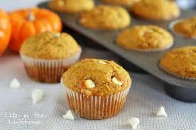 white chocolate chip pumpkin muffins