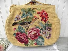 vintage needlepoint roses cherries bird handbag purse the pink