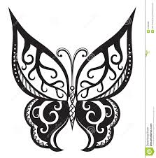 butterfly with ornaments in polynesian style stock illustration