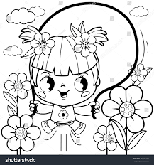 playing flower garden coloring book stock vector 383141209