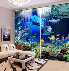 Patterned Window Curtains 2017 Patterned Window Curtains Ocean Dolphin Custom Curtain