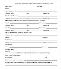 Daycare Information Sheet Template emergency contact forms 11 free documents in pdf word