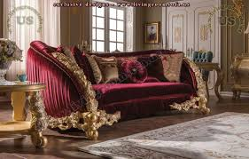wonderful classic red couch fabric carved wooden exclusive