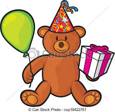 teddy in a balloon gift clip vector of teddy with gift box birthday hat and