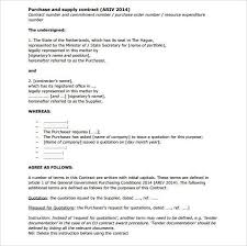 vendor contract agreement supplier contract template supply