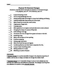 chemical and physical change worksheet worksheets