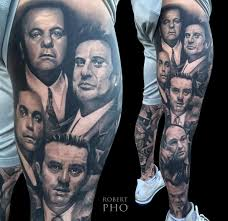 leg sleeve tattoo sopranos gangster theme skin design tattoo