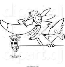cartoon vector clipart of a radio wolf talking into a microphone