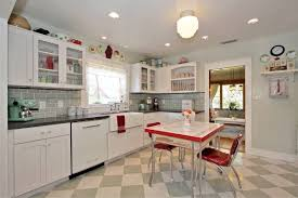 retro kitchen design ideas white granite countertop in open retro kitchen design ideas white granite countertop in open kitchen floor plan brown polished hardwood legs three kitchen chairs set curved steel faucet