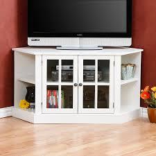 glamour corner media cabinet design feature white varnished wooden