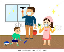 Cleaning House Happy Family Three Cleaning House Vector Stock Vector 219211240
