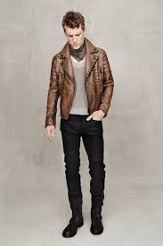 black biker style boots men u0027s brown leather biker jacket grey crew neck sweater black