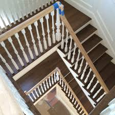 white oak hardwood stair treads finished with bona antique brown