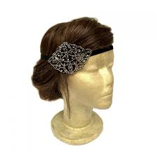jeweled headbands black flapper rhinestone headpiece 1920s headpiece wedding