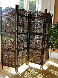 sheesham wood wooden screen partition kashmiri 72x80 4 handcrafted hardwood room divider or privacy screen six