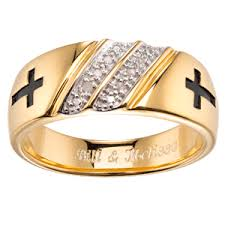mens gold wedding band men s gold sterling silver diamond accent cross wedding band