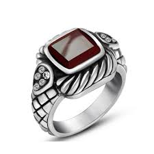 mens vintage rings images Fashion new stainless steel mens rings red agate wedding rings for jpg