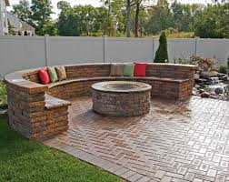 modern paving floor plus curved brick bench with colorful outdoor