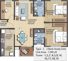 2bhk Plan For 500 Sq Ft 1290 Sq Ft 2 Bhk 2t Apartment For Sale In Prestige Group Ferns