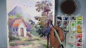 beginners watercolor how to paint a house landscape episode 5