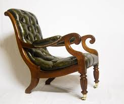 Library Chair Georgian Mahogany U0026 Leather Library Chair With Reeded Legs U0026 Brass