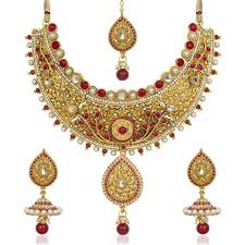 stone necklace set designs images Traditional designer gold plated maroon white pota stone jpg