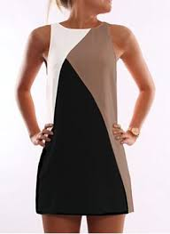 polyester color block sleeveless above knee dresses airydress