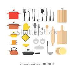 Kitchen Utensils Design by Vector Illustration Kitchen Set Cooking Utensils Stock Vector