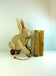 handmade wooden white rabbit on wheels toy display home decor