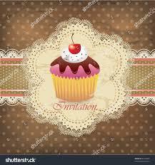 Cherry Cupcake Invitation Card Royalty Vintage Card Cupcake 015 Stock Vector 97790324 Shutterstock