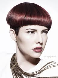 Mushroom Hairstyle Smooth Short Haircut With A Retro Mushroom Shape And Aubergine Color