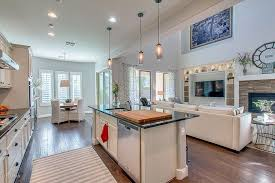 traditional great room with breakfast bar u0026 flat panel cabinets in
