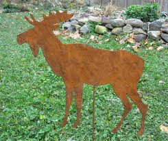 moose garden stake or wall hanging garden lawn ornament