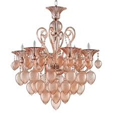 bella vetro 6 light pale blush murano style glass chandelier