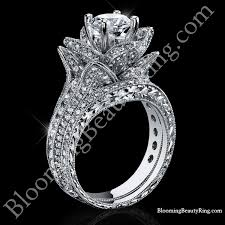 wedding rings flower images 2 08 ctw large hand engraved blooming beauty wedding ring set jpg