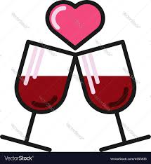 love card with two wine glasses royalty free vector image