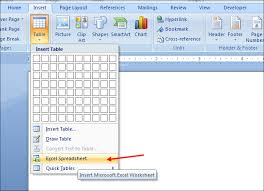 how to insert excel spreadsheet in word document
