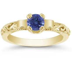 art deco period blue sapphire engagement ring 14k yellow gold