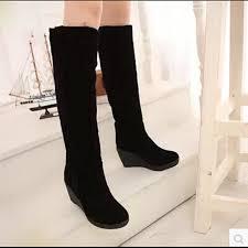 womens boots knee high black wedges high boots warm black 3 ways wear suede knee high
