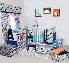 Teal Crib Bedding Sets Bacati Liam Aztec Aqua Orange Navy 10 Pc Crib Set With 2 Crib