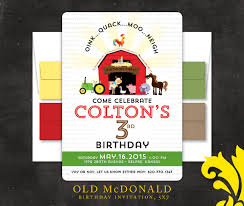 nealon design macdonald farm birthday invitation
