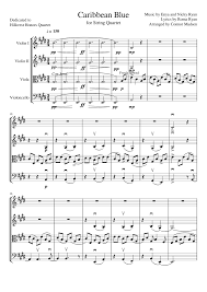 caribbean blue for string quartet musescore